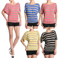 TheMogan S~3X Striped Burn Out Off Shoulder Dolman Button Sleeve Tee Shirts Top