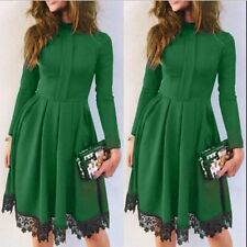 Women Fashion Long Sleeve Lace Floral Cocktail Party Evening Party Mini Dress