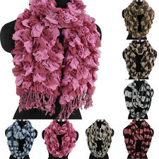 Women Vintage Plaid Mesh Tassel Soft Long Scarf/Infinity Loop Casual Scarf New