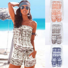 Casual Womens Printed Sleeveless Playsuit Shorts Off Shoulder Jumpsuits Rompers