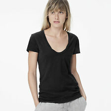 JAMES PERSE WOMEN'S BASIC CASUAL DEEP NECK TEE, BLACK: STYLE #WSVH3182CU