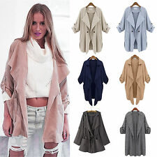 Womens Long Sleeve Waterfall Duster Trench Coat Caped Cardigan Thin Jacket Tops