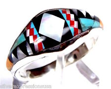 Handcrafted Multicolor Stones Inlay 925 Sterling Silver Band Ring size 6 or 8