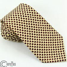 Tie ZANOLINI Yellow Red Paisley 100% Wool Made in Italy Necktie Business