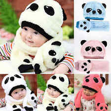 Winter Toddler Baby Girl Boy Warm Cute Panda Hat Cap Beanie Scarf Set Kids Child