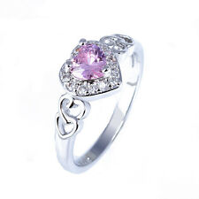 Women Fashion Heart Pink White Topaz Gemstone Silver Ring Jewelry Gift Sz 6 7 8