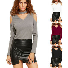 Sexy Womens Casual Long Sleeve Off Sholder Shirt Ladies T-shirts Blouse Tops Tee