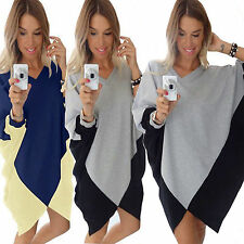 New Womens Casual Long Sleeve Dress Lady Party Evening Mini Shirt Dress Clubwear