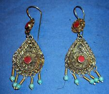Earrings Carnelian Lapis Malachite Afghan Kuchi Tribal Alpaca Silver 2""