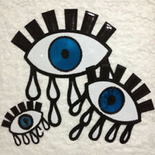 1Pcs Eyeball Tattoo Biker Punk Embroidered Applique Sequins Iron On Patch Badge
