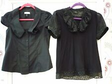 10 Black F&F RIVER ISLAND Short Sleeve Goth Wicca Steampunk Work Party Club Top