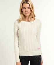 New Womens Superdry Croyde Cable Crew Neck Jumper Cream