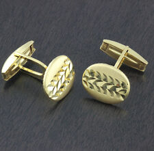 Mens 925 Sterling Silver Cufflinks Shirt Yellow Gold Plted Oval 17*14mm Italy