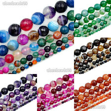 Natural Stripe Agate Gemstone Round Loose Beads 15.5''4mm 6mm 8mm 10mm 12mm