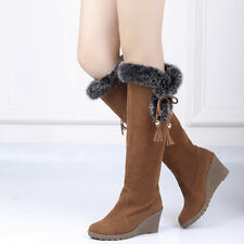 Womens Faux Suede Mid Calf Boots Warm Fur Trim Wedge Heels Casual Ladies Boots