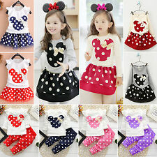 2Pcs Minnie Polka Dot Outfits Baby Toddler Kids Girls Cute Cartoon Clothing Set