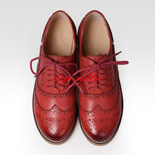 Retro Womens Leather Flat Brogues Flat Oxfords Wingtip Lace Up Carved Shoes #