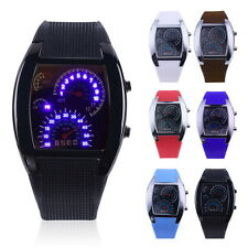 Mens Sports RPM Turbo Blue Flash LED Sports Car Meter Dial Watch Wristwatch O9
