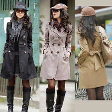 Women Winter Warm Long Sleeve Double Breasted Trench Coat Casual Fashion Jacket