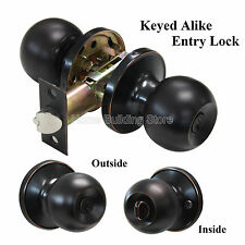 Oil Rubbed Bronze Keyed Alike Ball Entry Door Knob Locks with Same Key