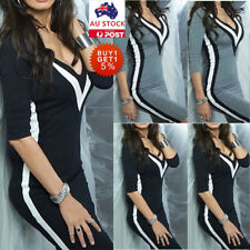 Women Sexy V Neck Long Sleeve Bodycon Club Cocktail Evening Party Short Dress