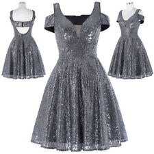 Sequins Bridesmaid Wedding Party Dress Ball Gown Evening Formal Cocktail Pageant