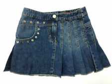 Girls Blue Denim Pleated Skirt with Stud Detail