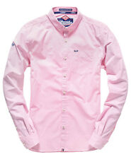 New Mens Superdry London Button Down Shirt Micro Gingham Pink