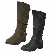 Ladies Spot On Fleece Lined Mid Calf Boots with Buckle Strap Style F50321
