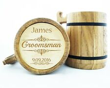 Personalized Groomsmen Gift Wooden Beer Mug Best Man Wood Beer Mugs Engraved K2