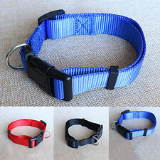 Adjustable Fabric Nylon Dog Puppy Pet Collar w/ Buckle and Clip for Lead Safety