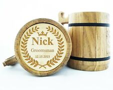 Personalized Wooden Beer Mug Groomsmen Gift Best Man Wood Beer Mugs Engraved K12