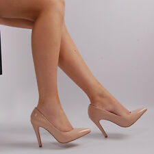 Womens Nude Patent Pointed Court Shoe Ladies Mid High Heel Stiletto Shoe Size
