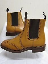 Mens Loake 1880 TAN Leather Pull On Brogue Style Chelsea Ankle Boots THIRSK TAN