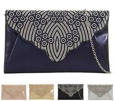 Womens Flat Bridal Evening Clutch Bag Diamante Overflap Party Prom Purse Handbag