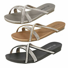 Ladies Anne Michelle Slip On Diamante Mule Sandals Style F0840