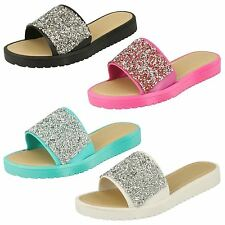 Ladies Savannah Slip On Flat Mule Glitter Sandals Style F0832