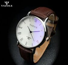 New Men's Stainless Steel Leather Military Sport Analog Quartz Wrist Watch