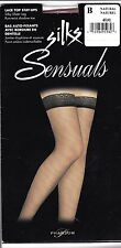 Vtg 90s NIP Silks Sensuals Stay-Ups Lace Top Thigh High Stockings Natural Sz B,C