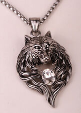 Wolf necklace pendant men women stainless steel biker jewelry gifts GN41 white