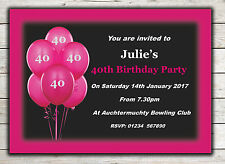 Birthday Invitations, Party Invites, 18th 21st 30th 40th 50th 60th any age Peg 9