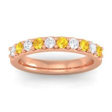 Yellow Sapphire FG SI Round Diamonds Classic Half Eternity Band 14K Rose Gold