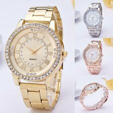 Women Geneva Watch Fashion Crystal Gold Stainless Steel Quartz Dress Wrist Watch