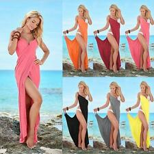 Hot Sexy Womens Sling Skirt Long vest Bare back Beach dress Solid color shawl