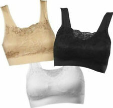 GENIE BRA Black White Nude 3 PCS LOT with Removable Pads Bud silk S M L XL 2XL