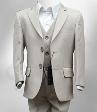 Boys Formal 3 Pc Page Boy Wedding Prom Suit In Beige Boys Beige Communion Suit