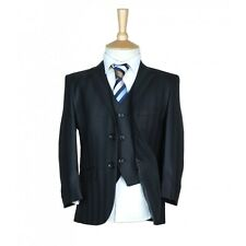 Boys Suit Italian Fitted Wool Mix Self Stripe Black Pageboy Wedding Prom