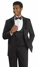 Men's Luxurious 3 Piece Black Tuxedo Suit Double Breasted Vest TUX104 EJ Samuel
