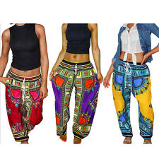 Women Sexy Casual Loose Vintage Ethnic Wide Leg Long Pants Bohemian Trousers NG