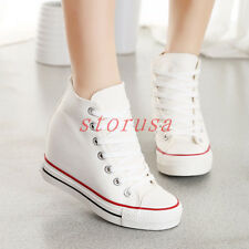 Fashion Hidden Wedge Heels Womens Lace Up High Top Athletic Sport Sneakers Boots